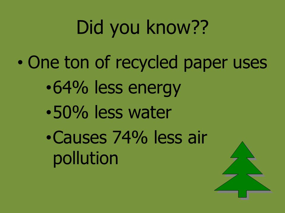 Did you know One ton of recycled paper uses 64% less energy