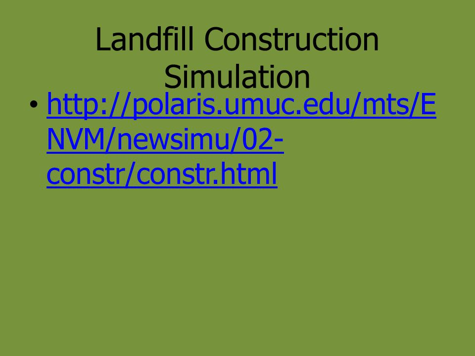 Landfill Construction Simulation