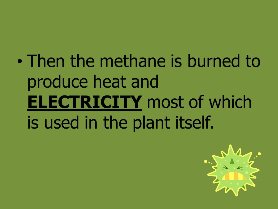 Then the methane is burned to produce heat and ELECTRICITY most of which is used in the plant itself.