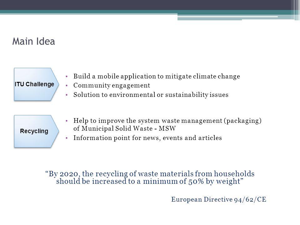 Main Idea ITU Challenge. Build a mobile application to mitigate climate change. Community engagement.