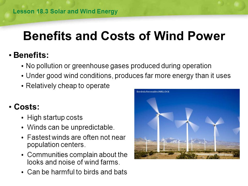 Benefits and Costs of Wind Power