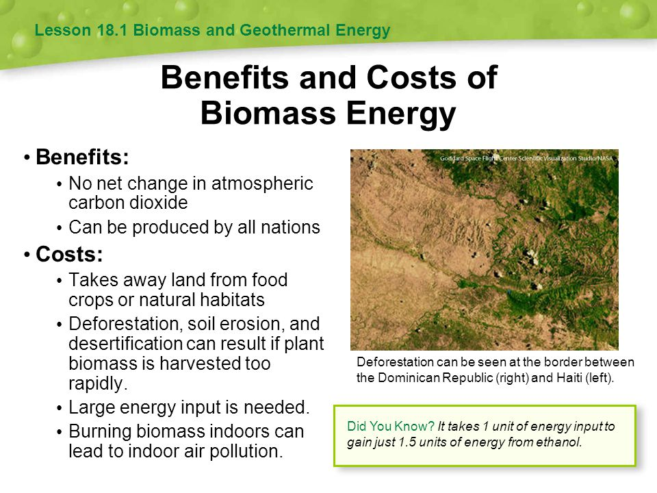 Benefits and Costs of Biomass Energy