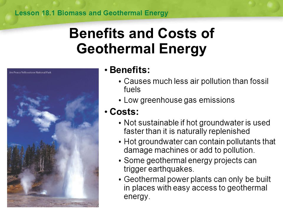 Benefits and Costs of Geothermal Energy