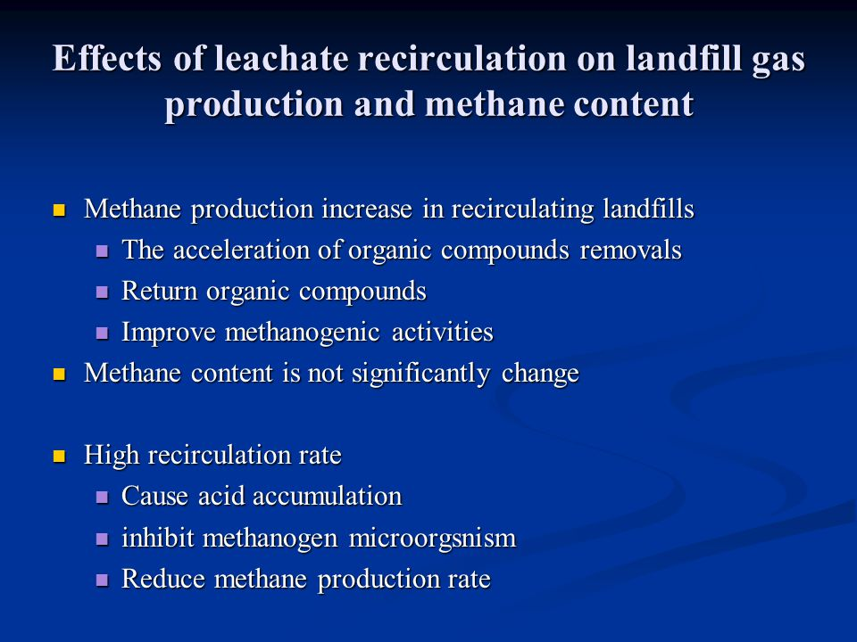 Effects of leachate recirculation on landfill gas production and methane content
