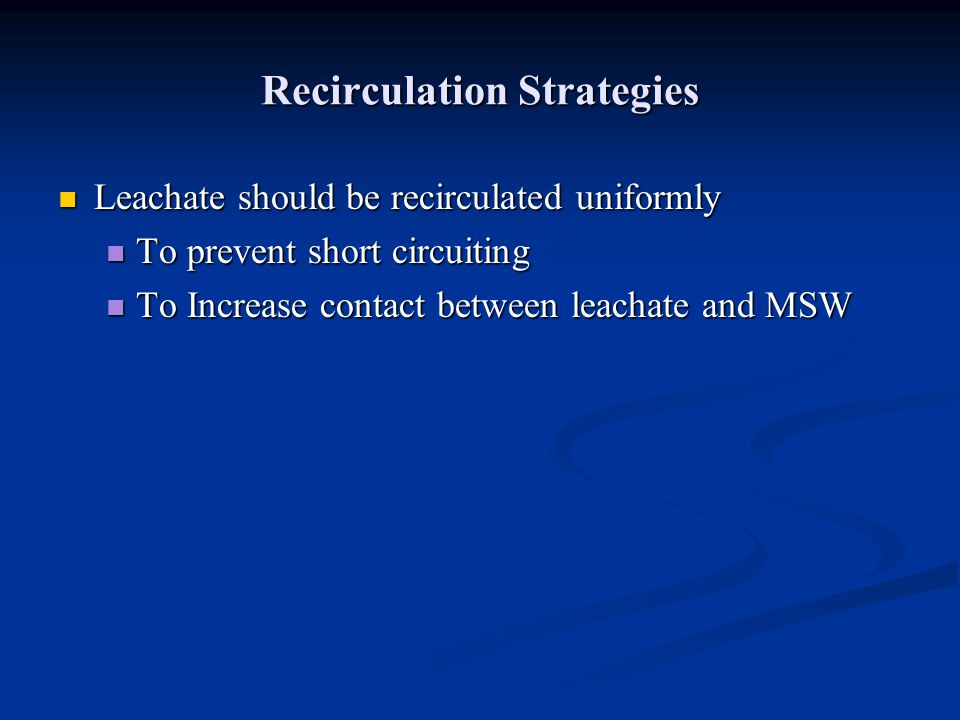 Recirculation Strategies