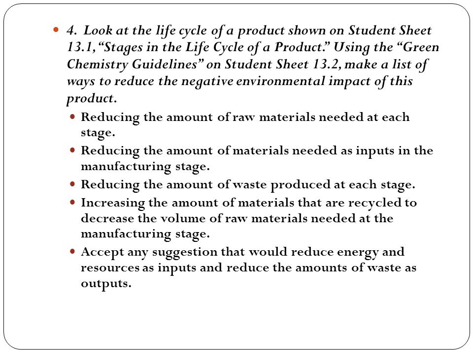 4. Look at the life cycle of a product shown on Student Sheet 13