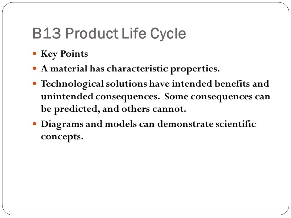 B13 Product Life Cycle Key Points