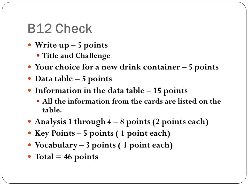 B12 Check Write up – 5 points