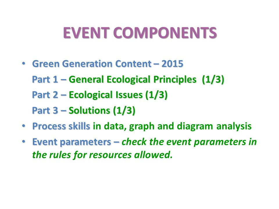 EVENT COMPONENTS Green Generation Content – 2015