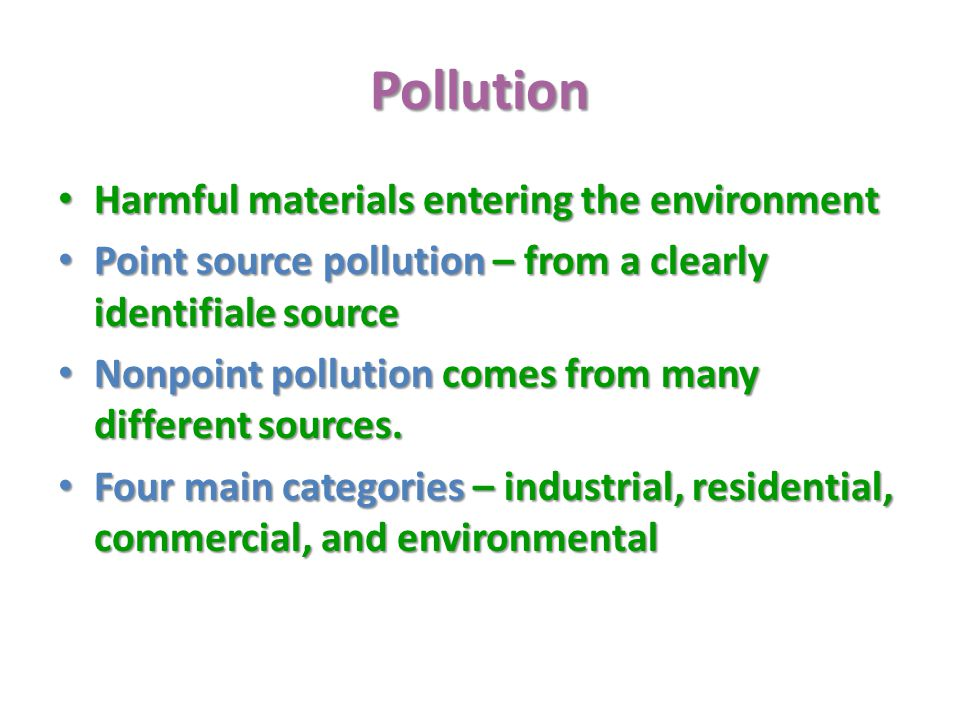 Pollution Harmful materials entering the environment