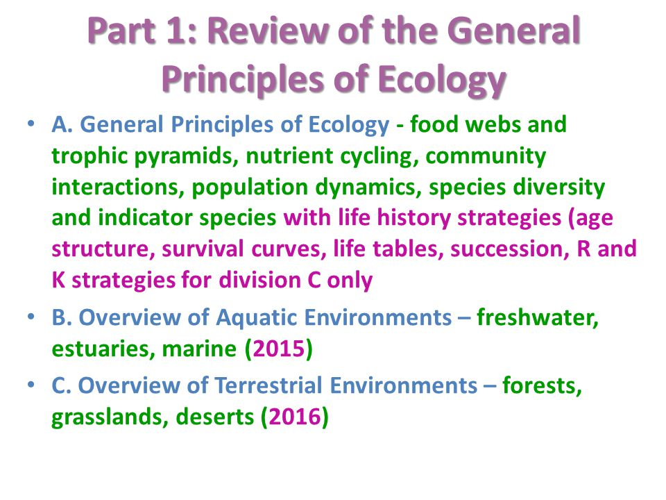 Part 1: Review of the General Principles of Ecology