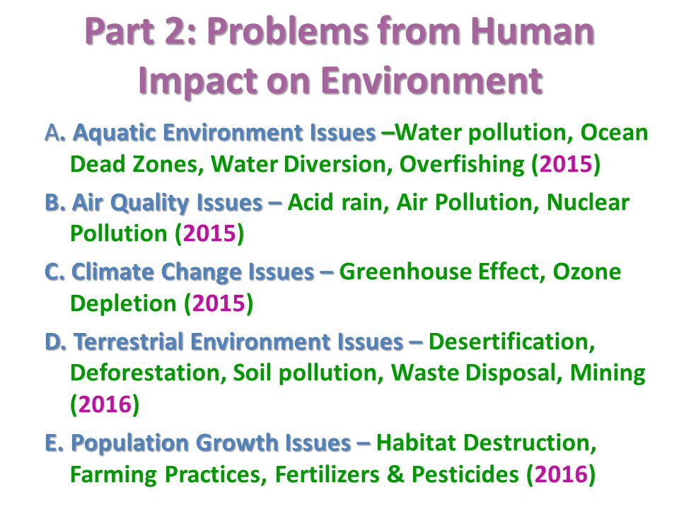 Part 2: Problems from Human Impact on Environment