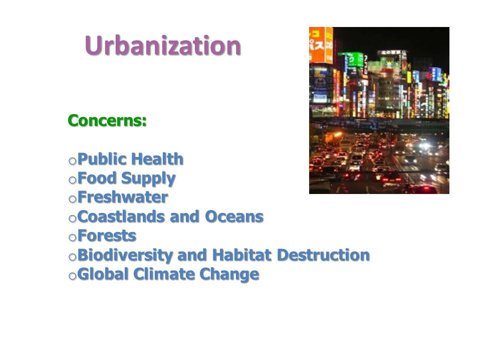 Urbanization Concerns: Public Health Food Supply Freshwater