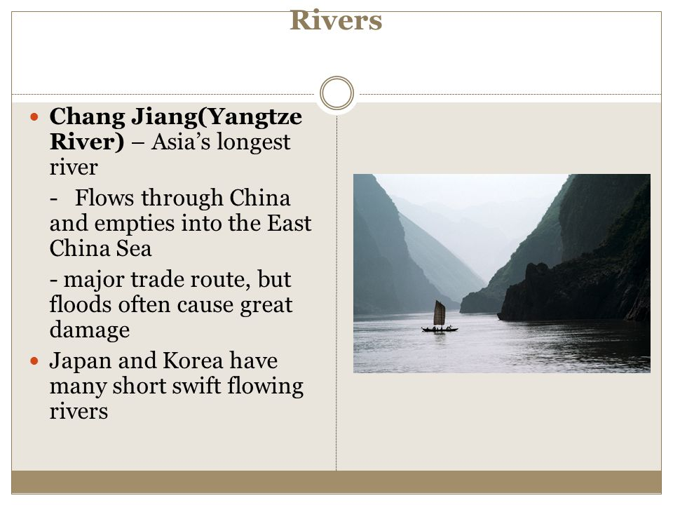 Rivers Chang Jiang(Yangtze River) – Asia's longest river