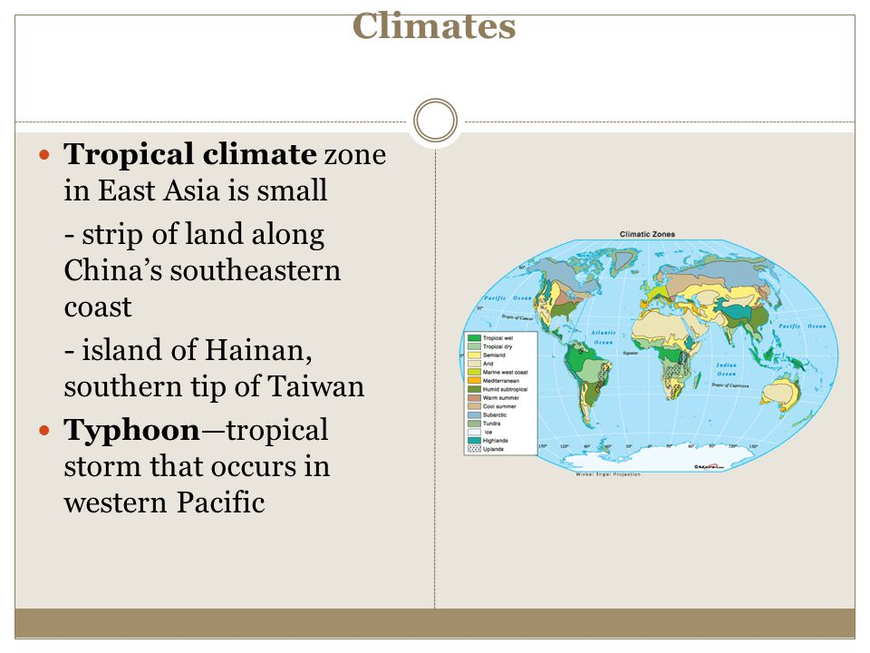 Climates Tropical climate zone in East Asia is small