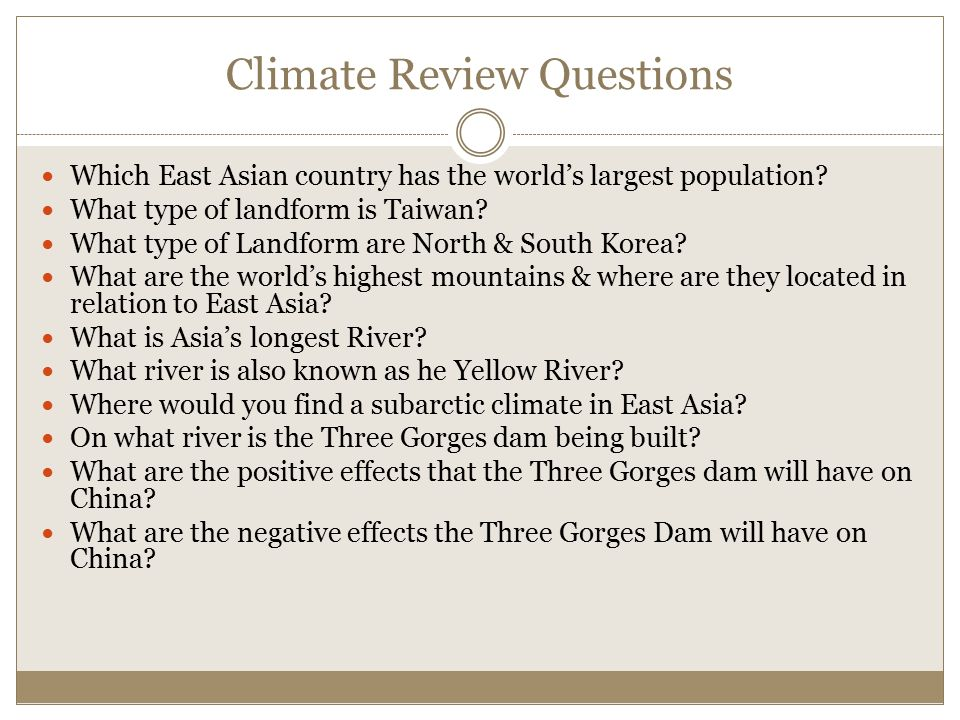 Climate Review Questions