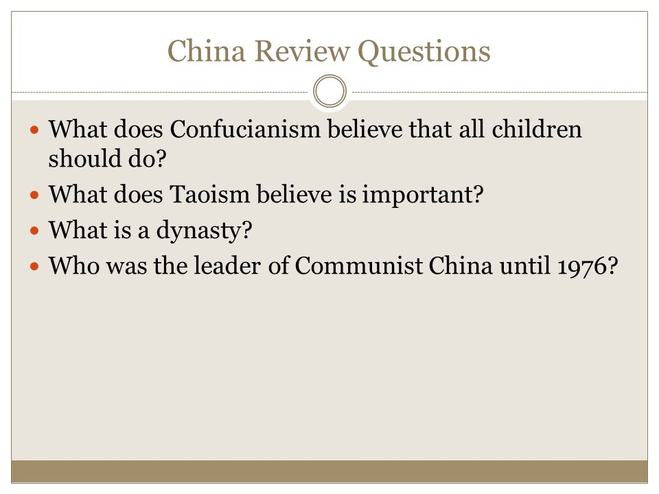China Review Questions