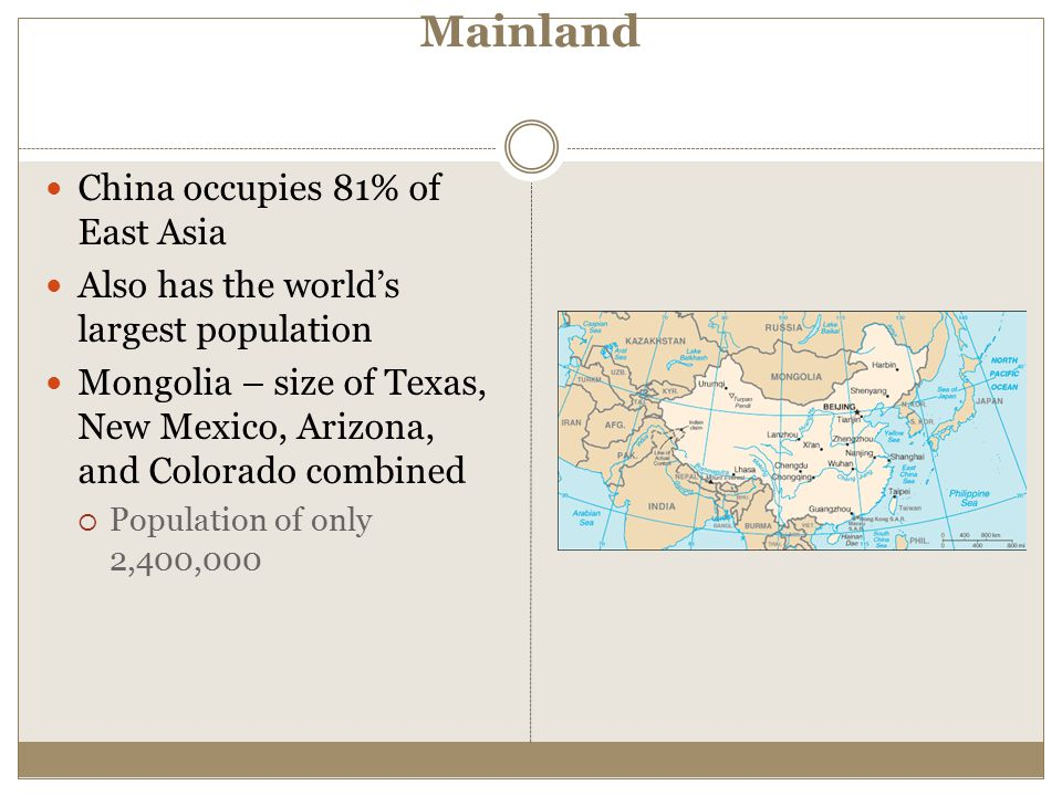 Mainland China occupies 81% of East Asia