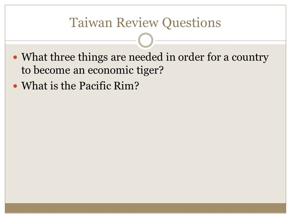 Taiwan Review Questions