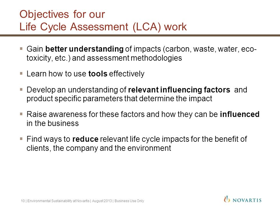 Objectives for our Life Cycle Assessment (LCA) work