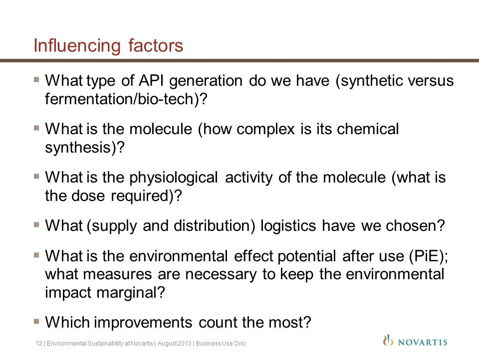 Influencing factors What type of API generation do we have (synthetic versus fermentation/bio-tech)