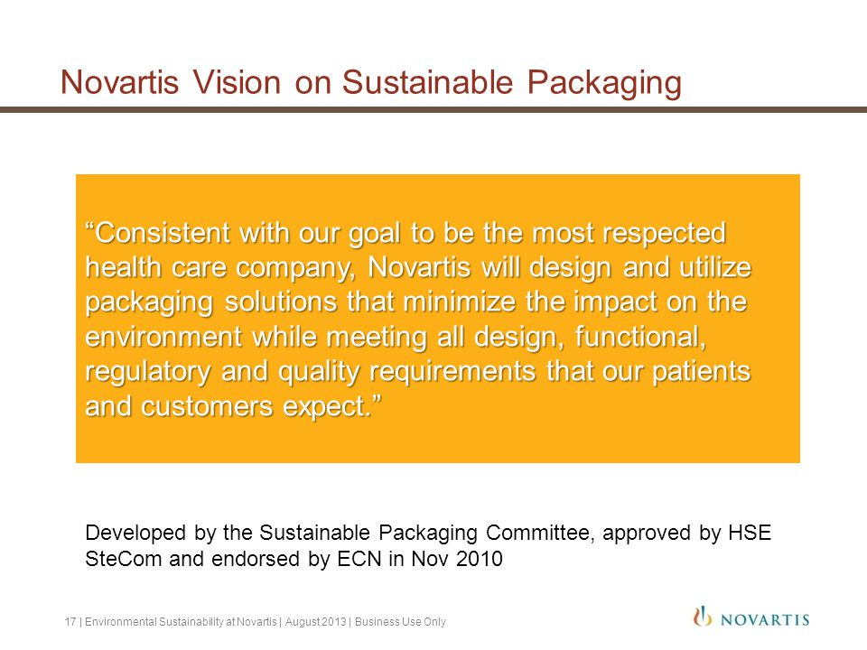 Novartis Vision on Sustainable Packaging
