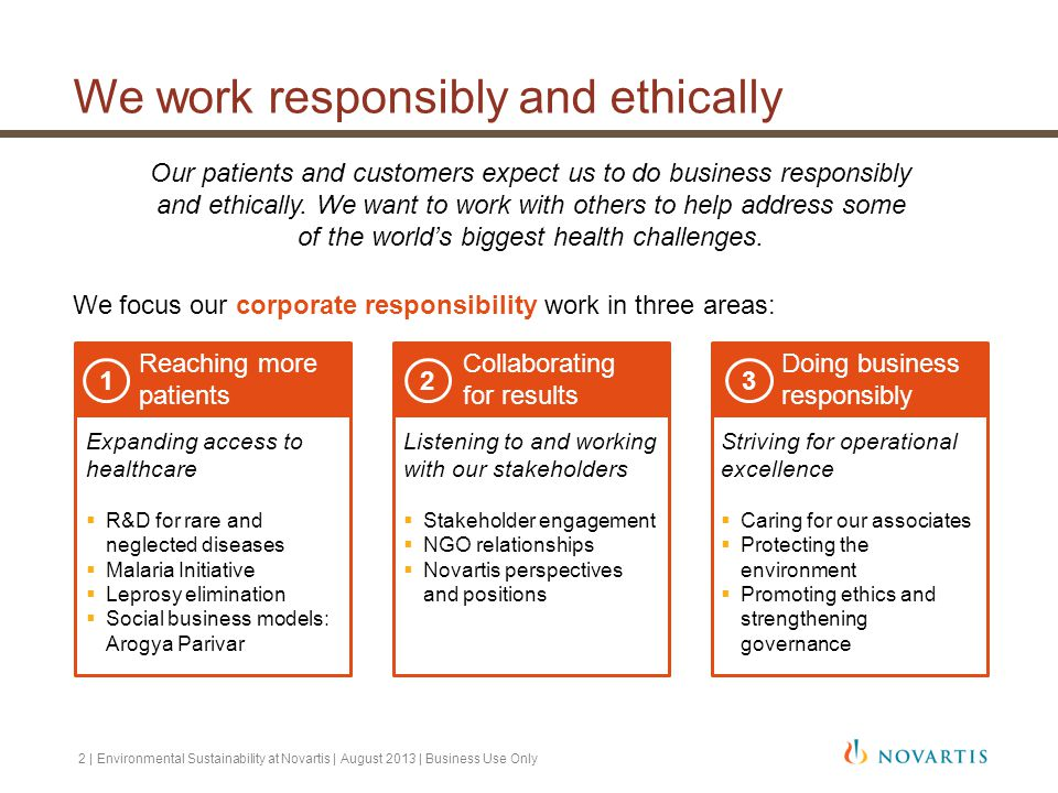 We work responsibly and ethically