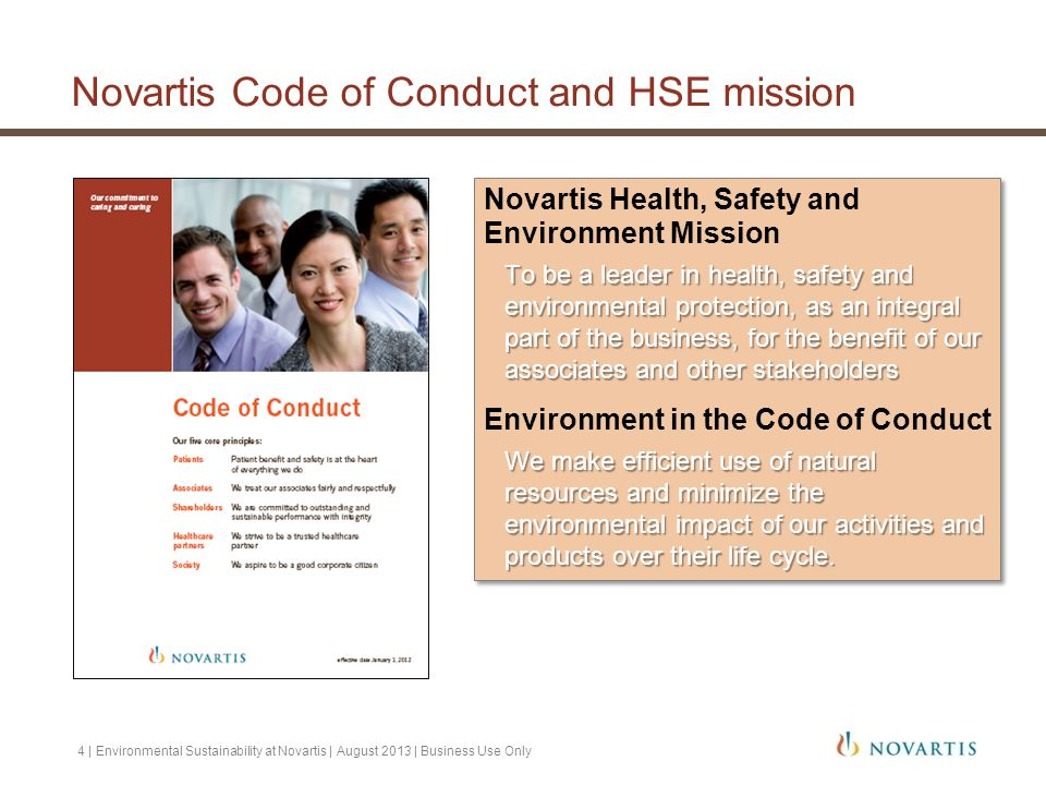Novartis Code of Conduct and HSE mission