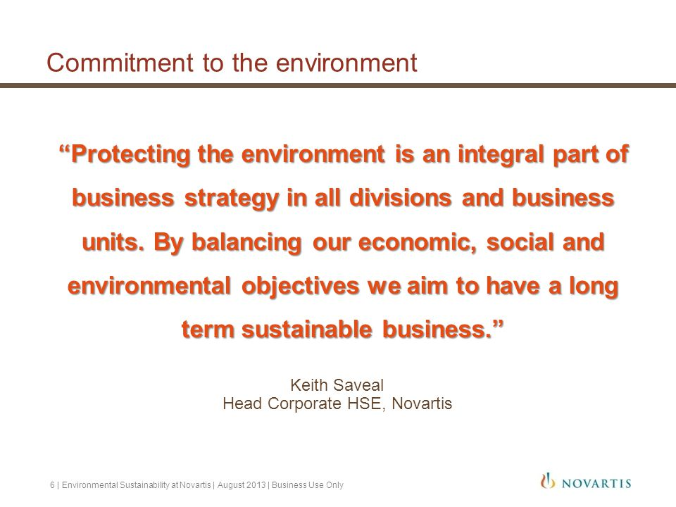 Commitment to the environment