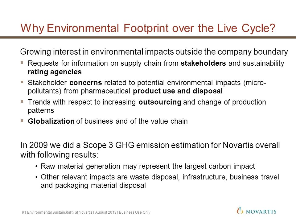Why Environmental Footprint over the Live Cycle