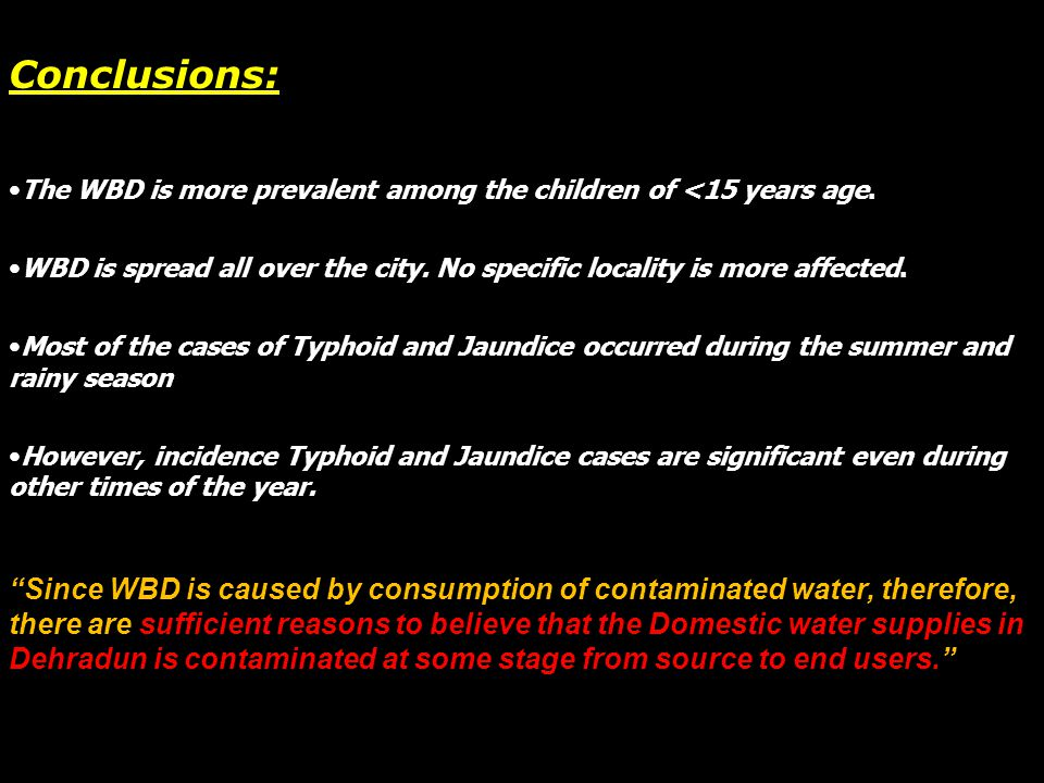Conclusions: The WBD is more prevalent among the children of <15 years age. WBD is spread all over the city. No specific locality is more affected.