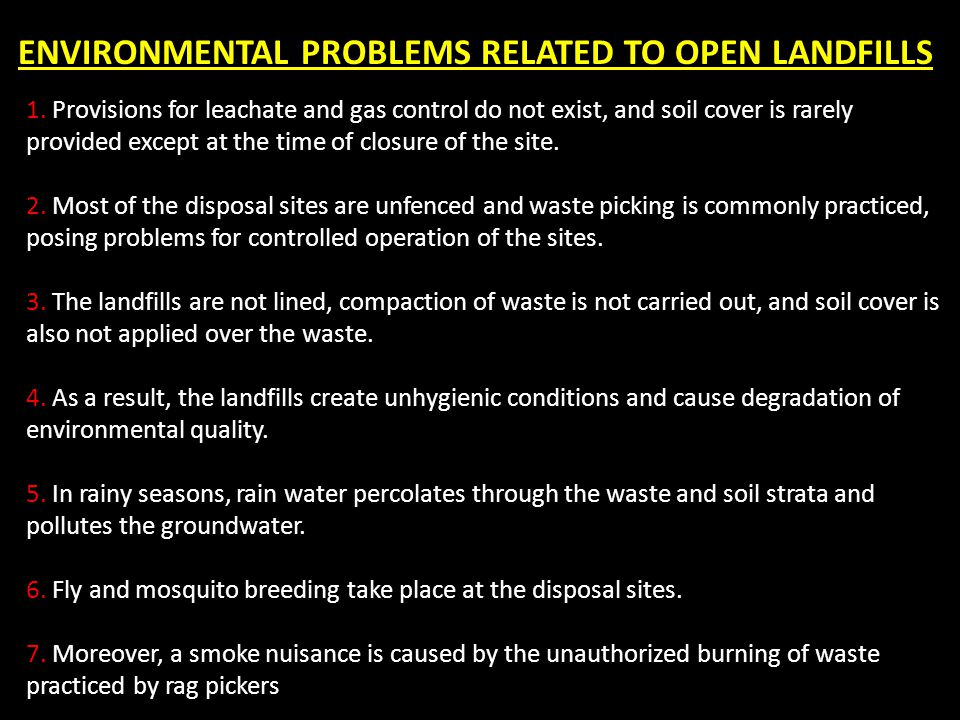 ENVIRONMENTAL PROBLEMS RELATED TO OPEN LANDFILLS