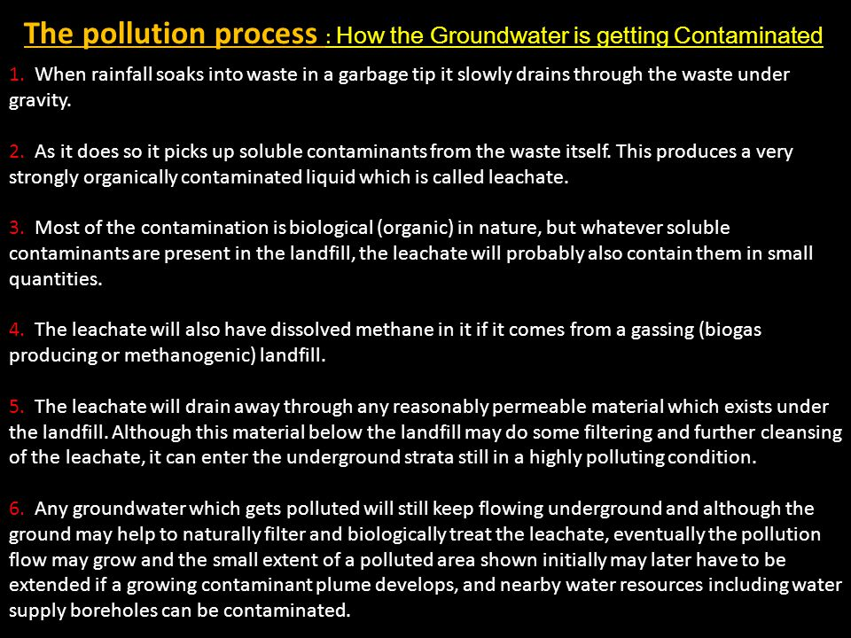 The pollution process : How the Groundwater is getting Contaminated