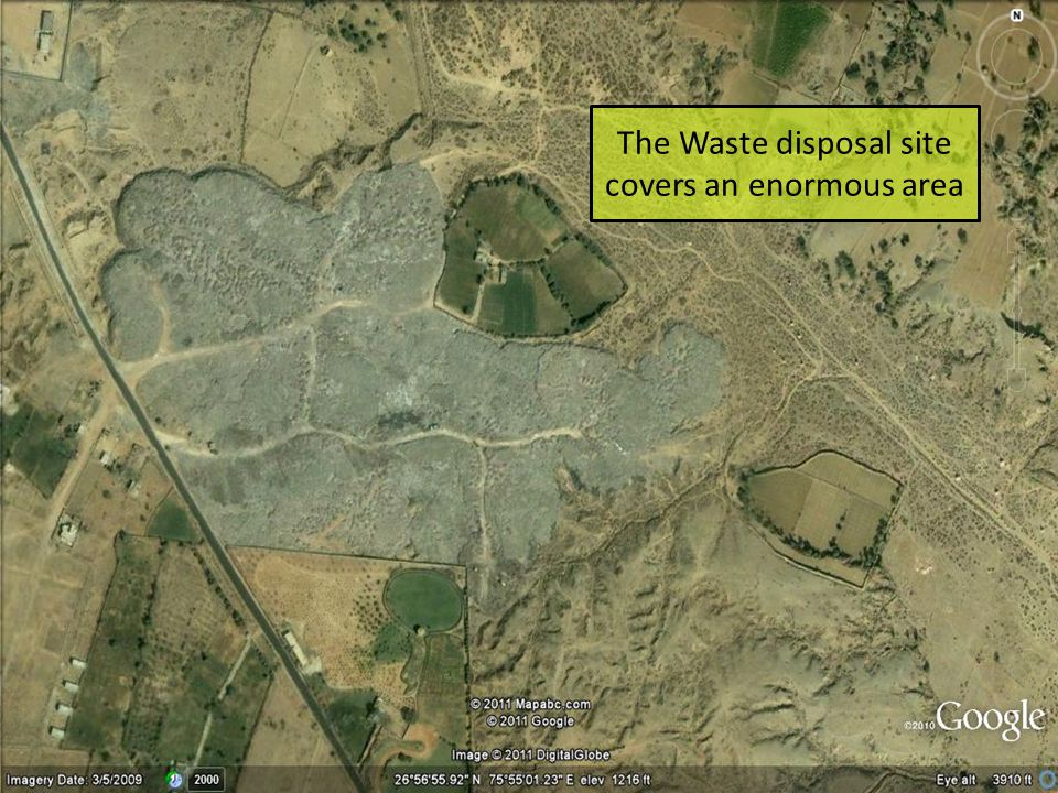 The Waste disposal site covers an enormous area