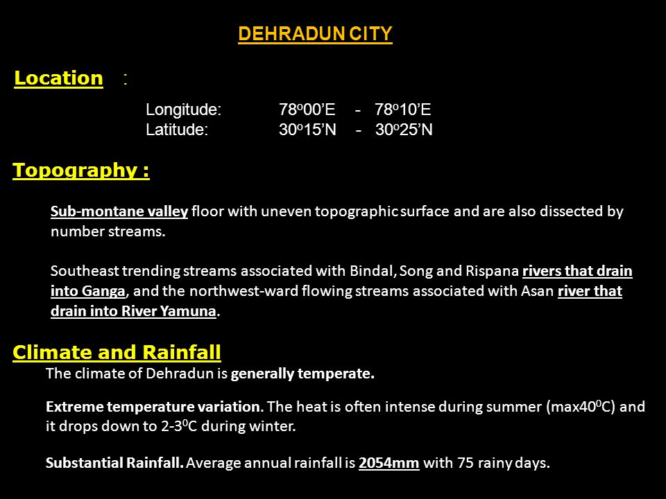 DEHRADUN CITY Location : Topography : Climate and Rainfall