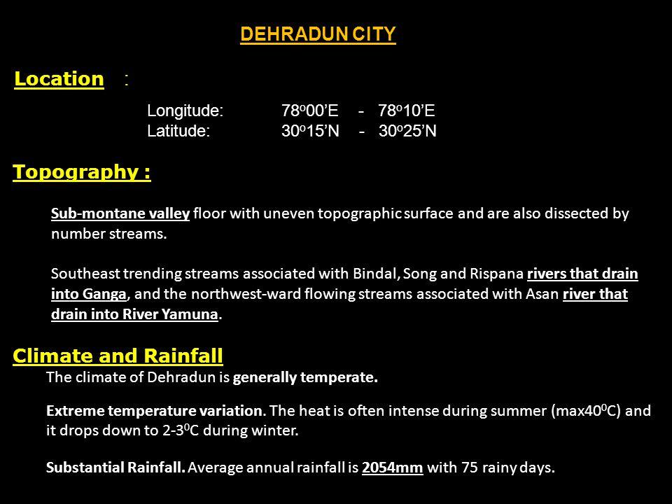 DEHRADUN CITY Location : Topography : Climate and Rainfall