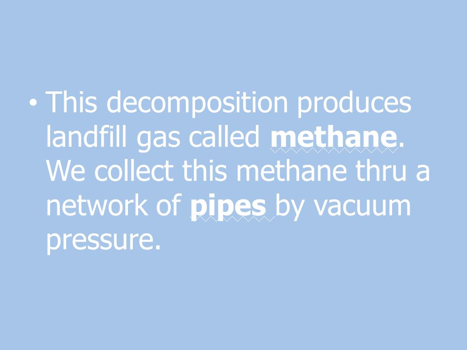 This decomposition produces landfill gas called methane