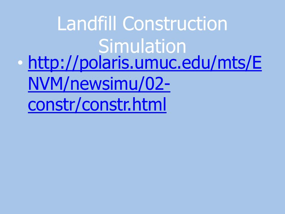 Landfill Construction Simulation