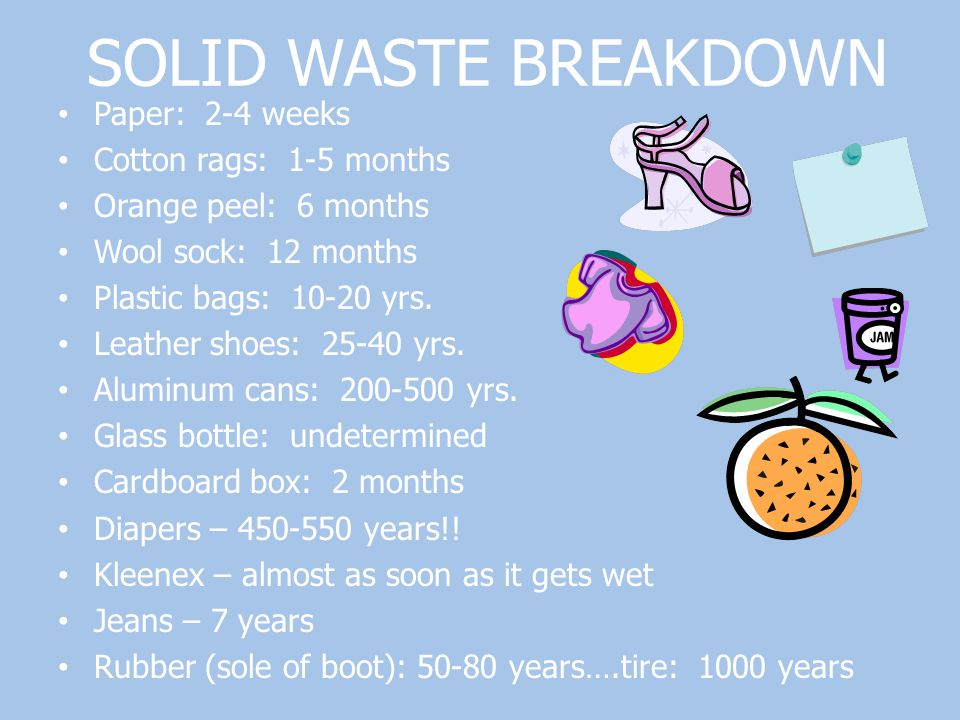 SOLID WASTE BREAKDOWN Paper: 2-4 weeks Cotton rags: 1-5 months