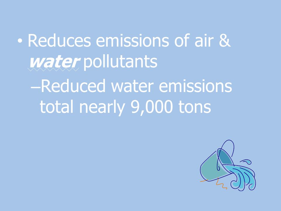 Reduces emissions of air & water pollutants