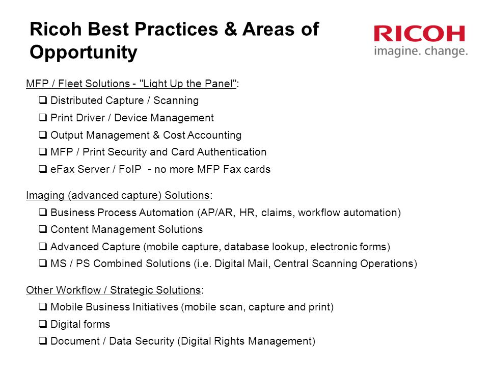 Ricoh Best Practices & Areas of Opportunity