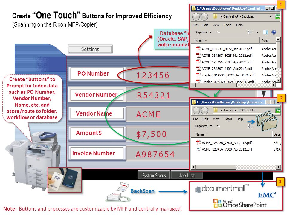 1 Create One Touch Buttons for Improved Efficiency (Scanning on the Ricoh MFP/Copier)