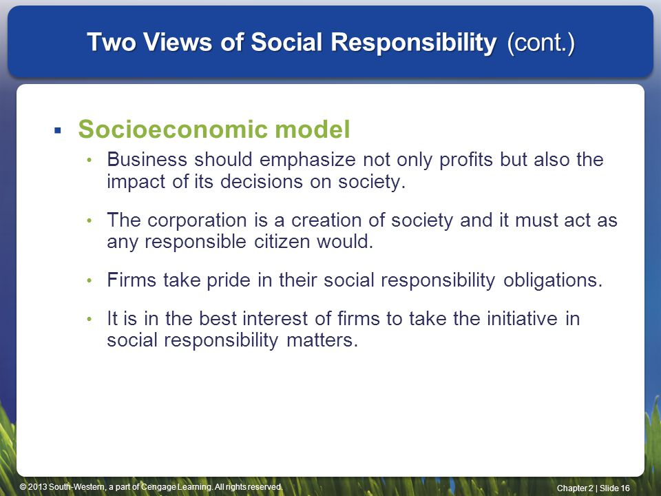 Two Views of Social Responsibility (cont.)