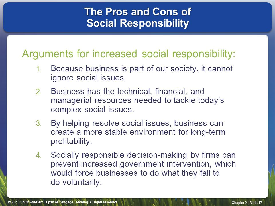 The Pros and Cons of Social Responsibility
