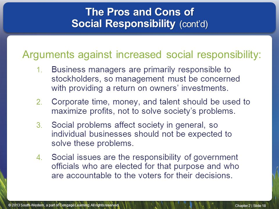 The Pros and Cons of Social Responsibility (cont'd)