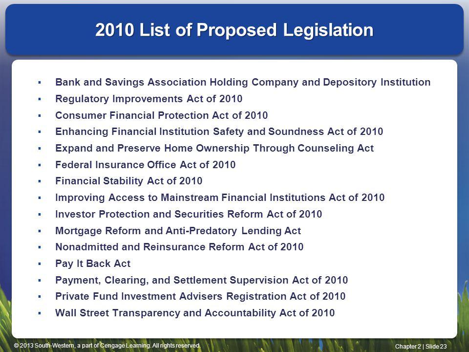 2010 List of Proposed Legislation