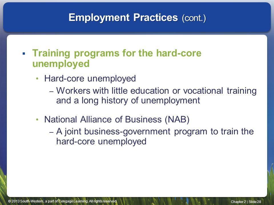 Employment Practices (cont.)