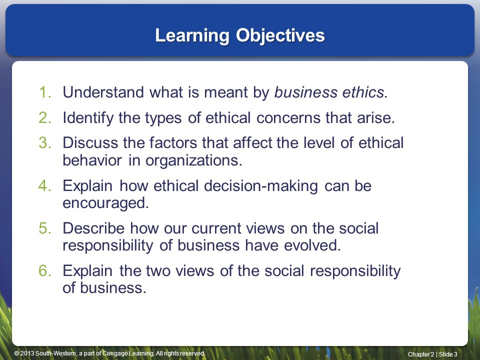 Learning Objectives Understand what is meant by business ethics.