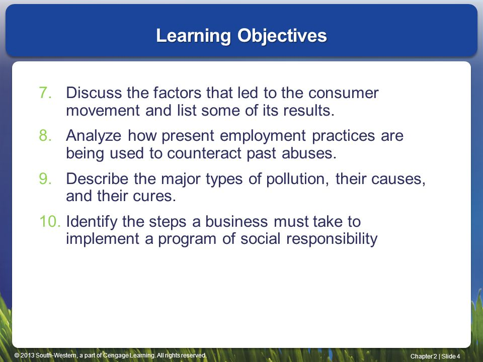 Learning Objectives Discuss the factors that led to the consumer movement and list some of its results.