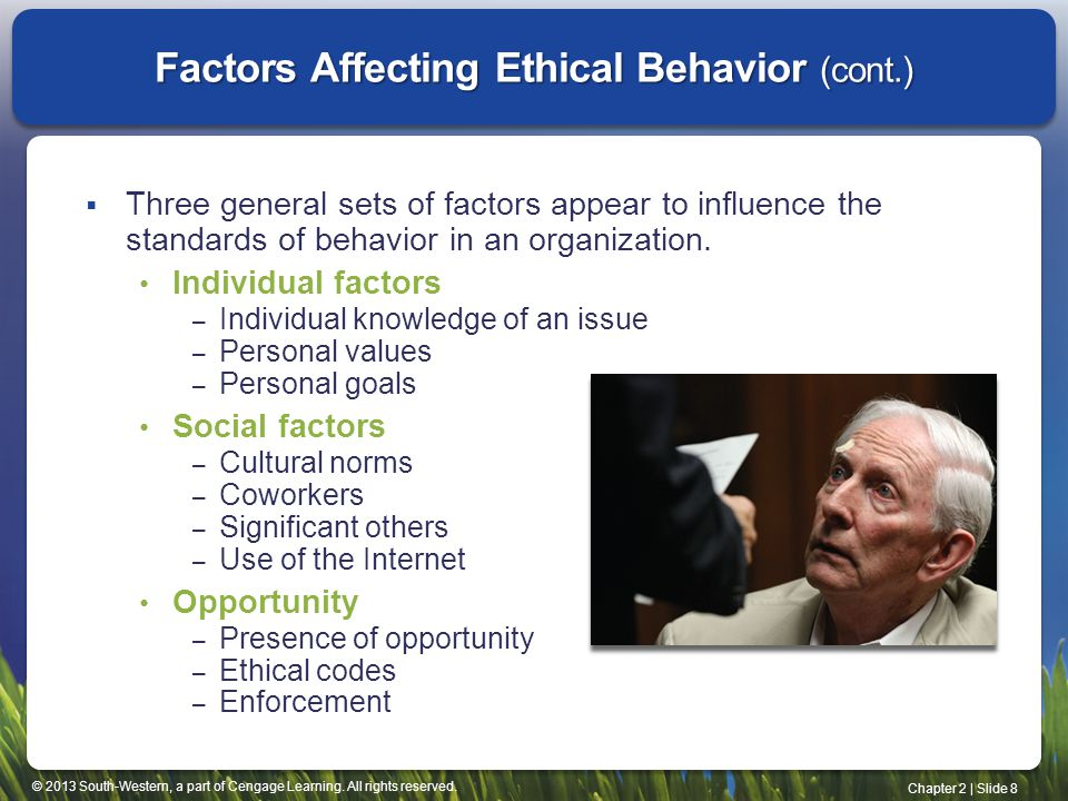 Factors Affecting Ethical Behavior (cont.)